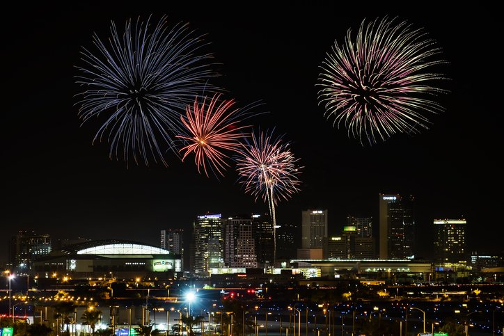 4th of July Fireworks over Downtown Phoenix.